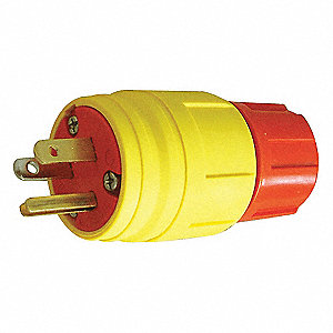 15A Industrial Grade Shrouded Watertight Locking Plug, Yellow; NEMA Configuration: L5-15P