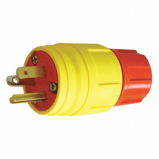 15A Industrial Grade Watertight Straight Blade Plug, Yellow; NEMA Configuration: 5-15P