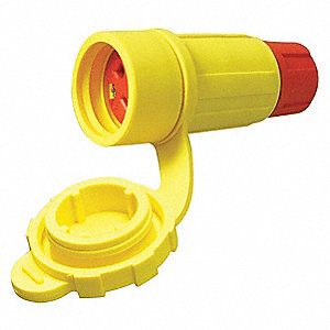 30 Amp Industrial Grade Watertight Locking Connector, L18-30R NEMA Configuration, Yellow