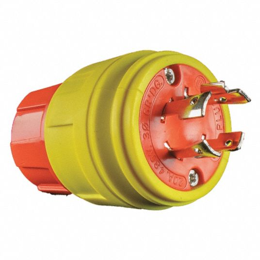 20A Industrial Grade Shrouded Watertight Locking Plug, Orange/Yellow; NEMA Configuration: L16-20P