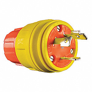 30A Industrial Grade Shrouded Watertight Locking Plug, Orange/Yellow; NEMA Configuration: L7-30P