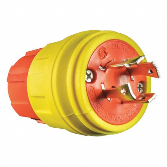 20A Industrial Grade Shrouded Watertight Locking Plug, Orange/Yellow; NEMA Configuration: L14-20P