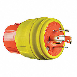 30A Industrial Grade Shrouded Watertight Locking Plug, Yellow; NEMA Configuration: L15-30P