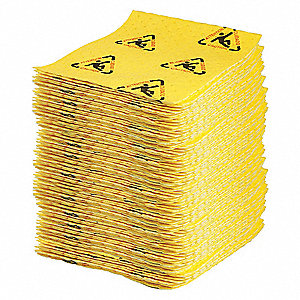 "19"" x 15"" Heavy Absorbent Pad for Chemical / Hazmat, Black/Yellow, 100PK"