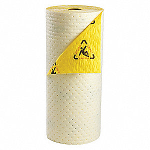 100 ft. Absorbent Roll, Fluids Absorbed: Chemical, Hazmat, Heavy, 26.7 gal., 1 EA