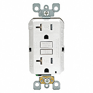 20A Commercial Environments GFCI Receptacle, White&#x3b; Tamper Resistant: Yes