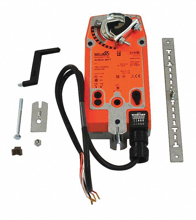 24v ac/dc mft spring return damper actuator 24vac/dc 22° to 122°f 180  inlb 150 sec includes