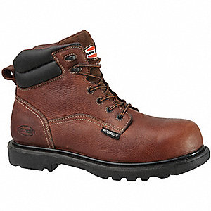 "6""H Men's Work Boots, Composite Toe Type, Leather Upper Material, Brown, Size 12W"