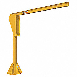 Manual Base Mounted Jib Crane, 1000 lb., Height Under Span:10 ft.