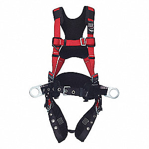 Full Body Harness, Harness Size: XL, Weight Capacity: 420 lb., Red