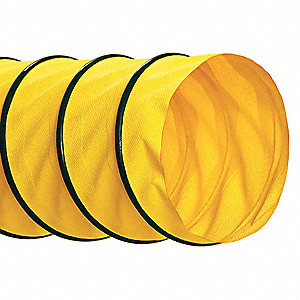 "25 ft. Neoprene Industrial Ducting Hose with 7.5"" Bend Radius, Yellow"