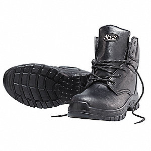 "6""H Men's Work Boots, Steel Toe Type, Leather Upper Material, Black, Size 17"