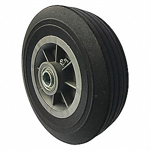 "8"" Light-Medium Duty Ribbed Tread Solid Rubber Wheel, 500 lb. Load Rating"