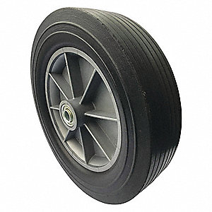 "11-57/64"" Light-Medium Duty Ribbed Tread Solid Rubber Wheel, 600 lb. Load Rating"