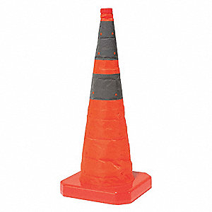 "Collapsible Cone, 28"" Cone Height, Orange, Polyester"
