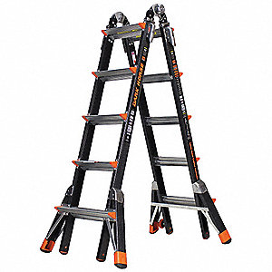 Fiberglass Multipurpose Ladder, 11 to 19 ft. Extended Ladder Height, 300 lb. Load Capacity