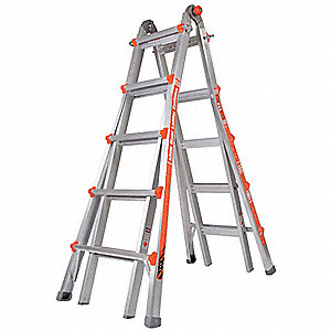 Aluminum Multipurpose Ladder, 10 to 18 ft. Extended Ladder Height, 250 lb. Load Capacity