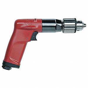 "0.5 HP Industrial Duty Keyed Air Drill, Pistol Style, 1/4"" Chuck Size"