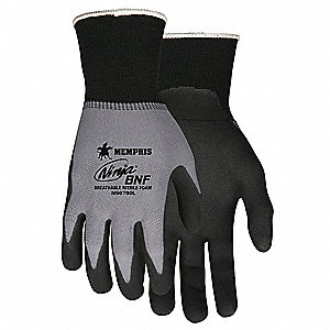 15 Gauge Foam Nitrile Coated Gloves, Glove Size: L, Gray/Black