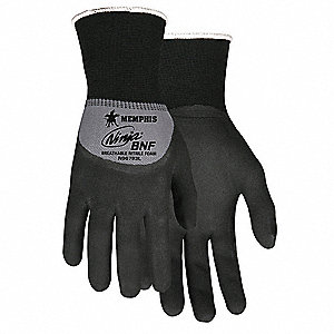 15 Gauge Foam Nitrile Coated Gloves, Glove Size: M, Gray/Black