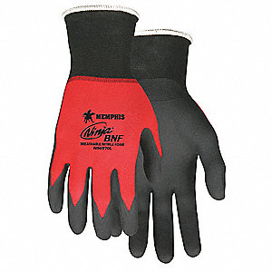 18 Gauge Foam Nitrile Coated Gloves, Glove Size: XL, Black/Red
