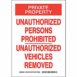 Admittance Sign,10 x 7In,Red/White