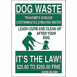 "Pets, Dog Waste, Polyester, 14"" x 10"", Adhesive Surface, Not Retroreflective"