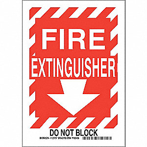 "Fire Equipment, No Header, Aluminum, 14"" x 10"", With Mounting Holes, Not Retroreflective"