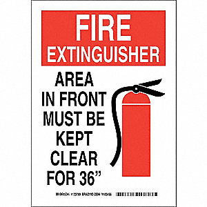 "Keep Clear, Fire Extinguisher, Plastic, 14"" x 10"", With Mounting Holes, Not Retroreflective"