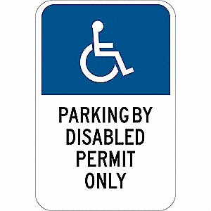 Parking Sign,18 x 12In,Blk and Blue/Wht