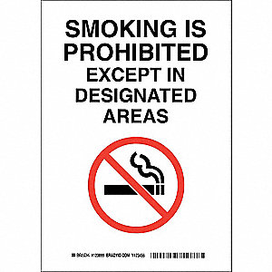 No Smoking Sign,14 x 10In,Blk and Rd/Wht