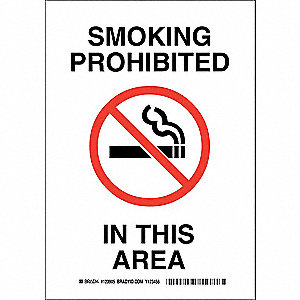 No Smoking Sign,10 x 7In,Blk and Rd/Wht
