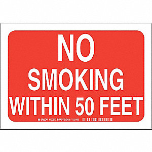 No Smoking Sign,7 x 10In,White/Red