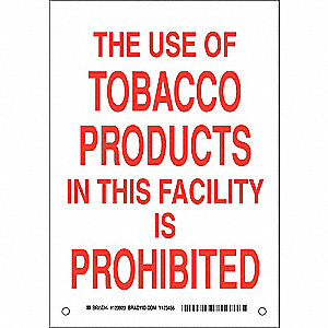 No Smoking Sign,10 x 7In,Red/White