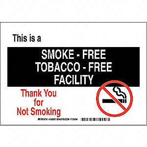 "No Smoking, No Header, Polyester, 10"" x 14"", Adhesive Surface, Not Retroreflective"