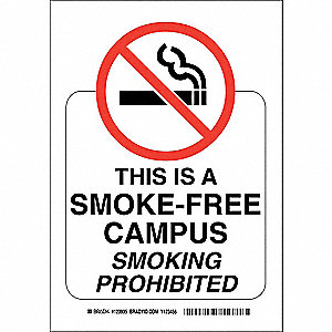 No Smoking Sign,14 x 10In,Red/White