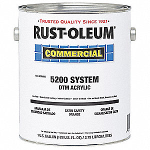 Commercial Satin Safety Orange Interior/Exterior Paint, 1 gal.