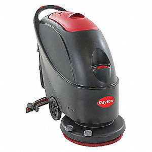 "Floor Scrubber, Walk-Behind, 160 rpm Brush Speed, Disc Deck Style, 0.6 HP, 17"" Cleaning Path"