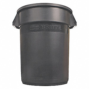 "BRUTE® 10 gal. Round Open Top Utility Food-Grade Waste Container, 17""H, Black"