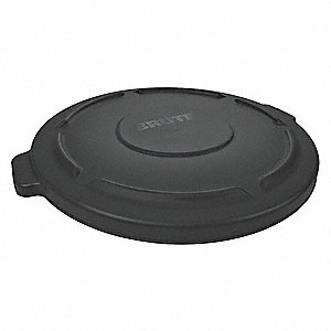 Trash Can Top,Flat,Snap-On Closure,Black