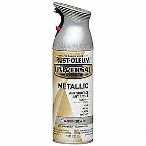 Universal Spray Paint in Gloss Titanium Silver for Aluminum, Metal, Wood, 11 oz.
