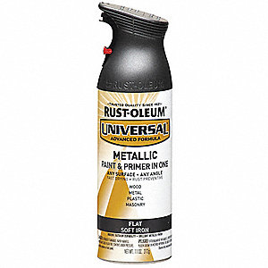 Universal Spray Paint in Flat Soft Iron for Aluminum, Metal, Wood, 11 oz.