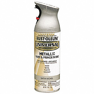 Universal Spray Paint in Gloss Satin Nickle for Aluminum, Metal, Wood, 11 oz.