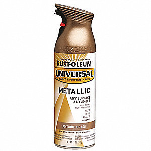 Universal Spray Paint in Gloss Antique Brass for Aluminum, Metal, Wood, 11 oz.