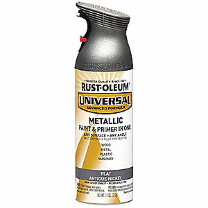 Universal Spray Paint in Flat Antique Nickle for Aluminum, Metal, Wood, 11 oz.