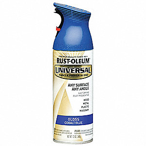Universal Spray Paint in Gloss Cobalt Blue for Aluminum, Metal, Wood, 12 oz.