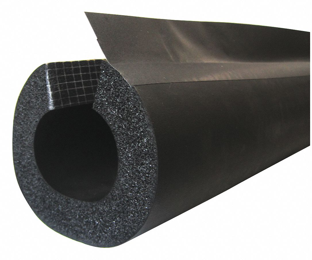 1/2 in Thick, Pre-Slit/Pre-Glued with Overflap NBR/PVC Pipe Insulation, 6 ft Insulation Length