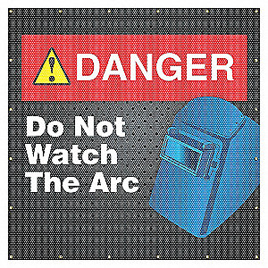 WELD SCRN ANSI DANGER 6X6FT BLUE