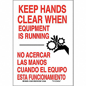 "Keep Hands Clear, No Header, Plastic, 10"" x 7"", With Mounting Holes, Not Retroreflective"