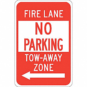 Traffic Sign,18 x 12In,Red/White